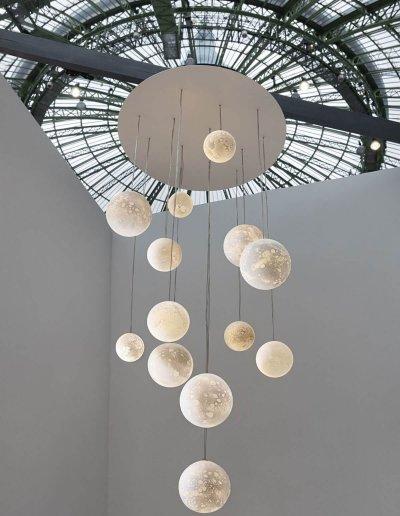 Lustre Lunes, H120 diam 60cm, verre soufflé, LEDs