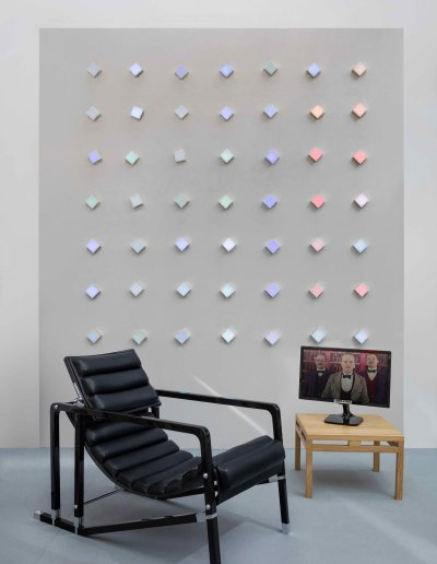 Essence of things, animated lighting wall, Ecart armchair
