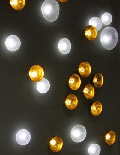 Nature harmonieuse wall ,detail, mix of Nénuphars, Diamants crystals and Nucléoles, pure white and warm white LEDs