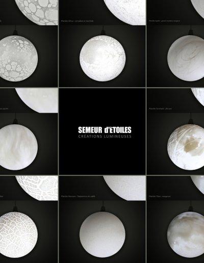 8 different white Planètes