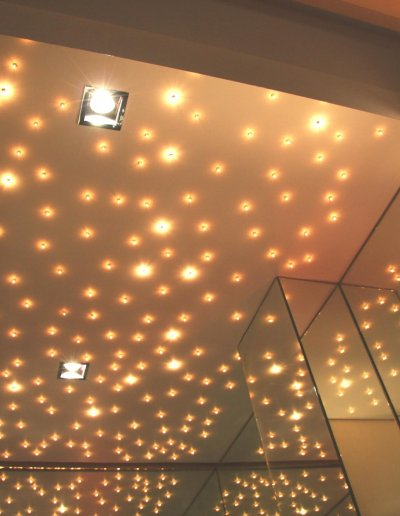 Starlit ceiling, warm white LEDs exist in 2 intensities, Lavabo blanc, Paris