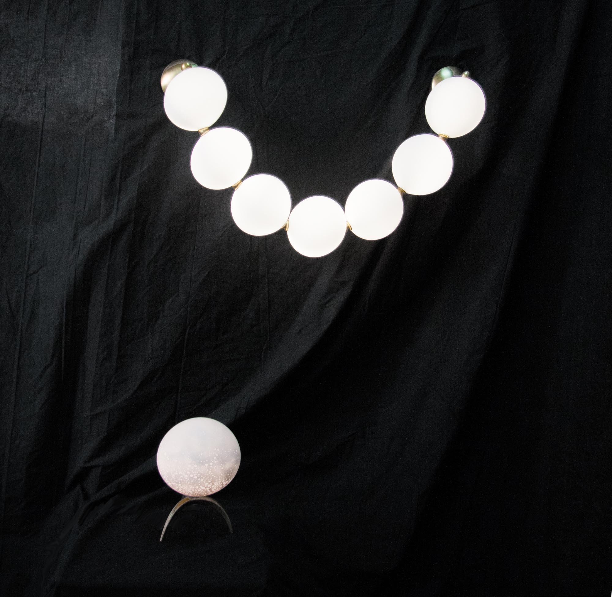 7 Perles wall light with double hanging, HLD 50x80x17cm (flexible therefore adjustable)