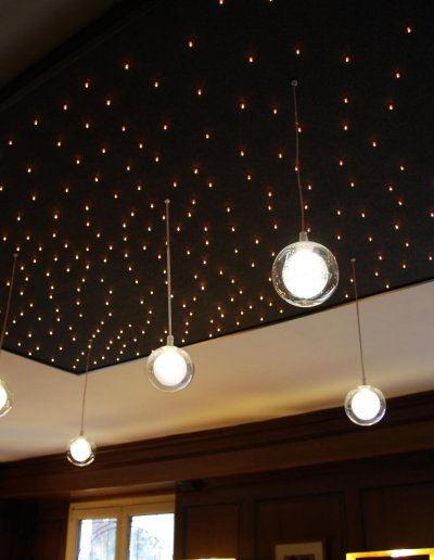 5 Nébuleuses hanging lights on a starlit Plafonnier, warm white LEDs, HLD 100x200x120cm, Grand hôtel des Gobelins, Paris