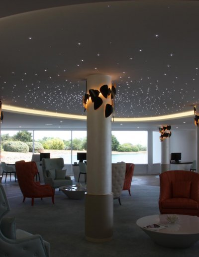 Starlit ceiling, Anthony Béchu architect, hôtel Miramar lobby, Arzon