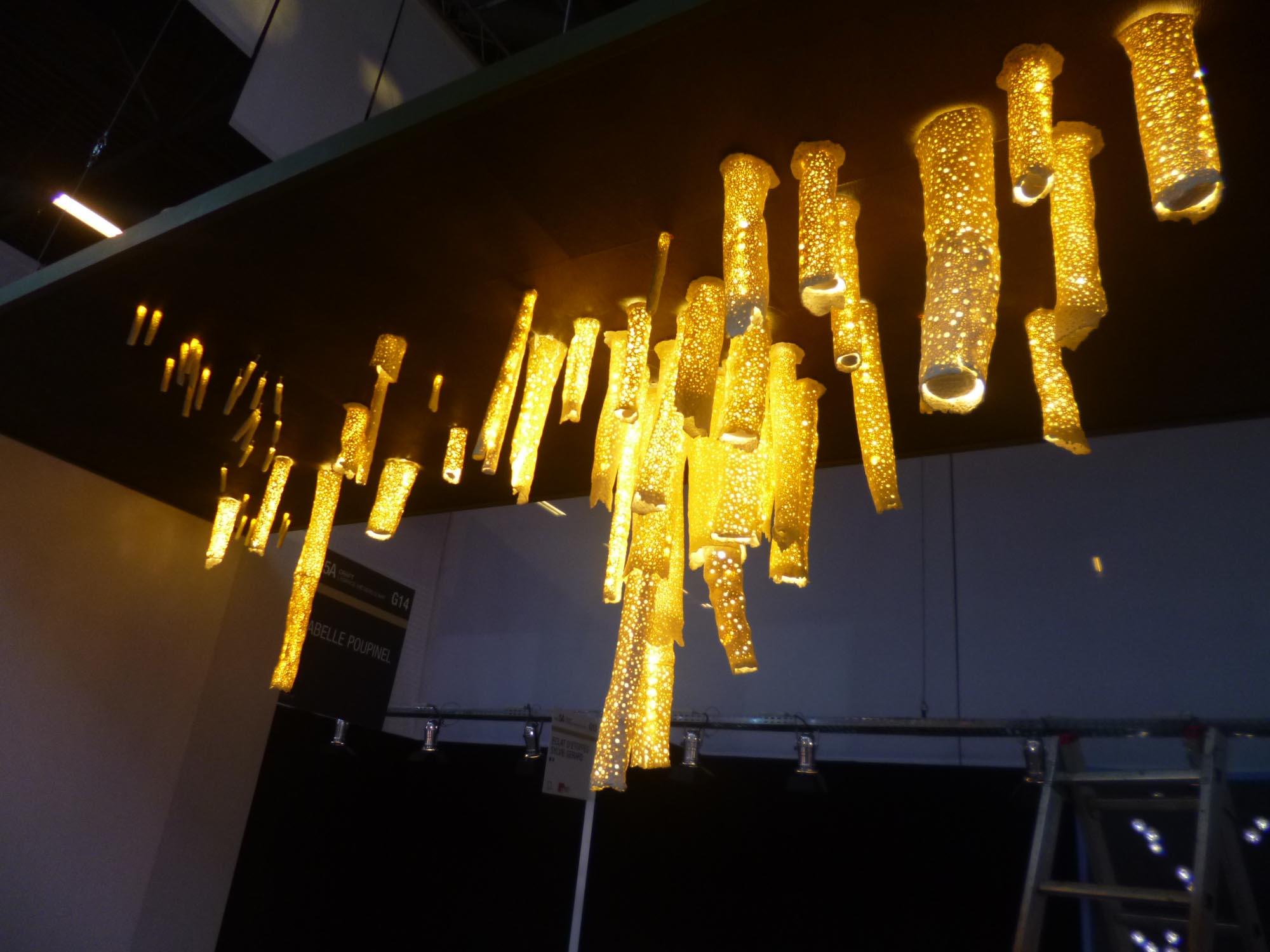 Lustre Corail, revêtement loup vert, LEDs blanc chaud, HLP 55x252x102cm