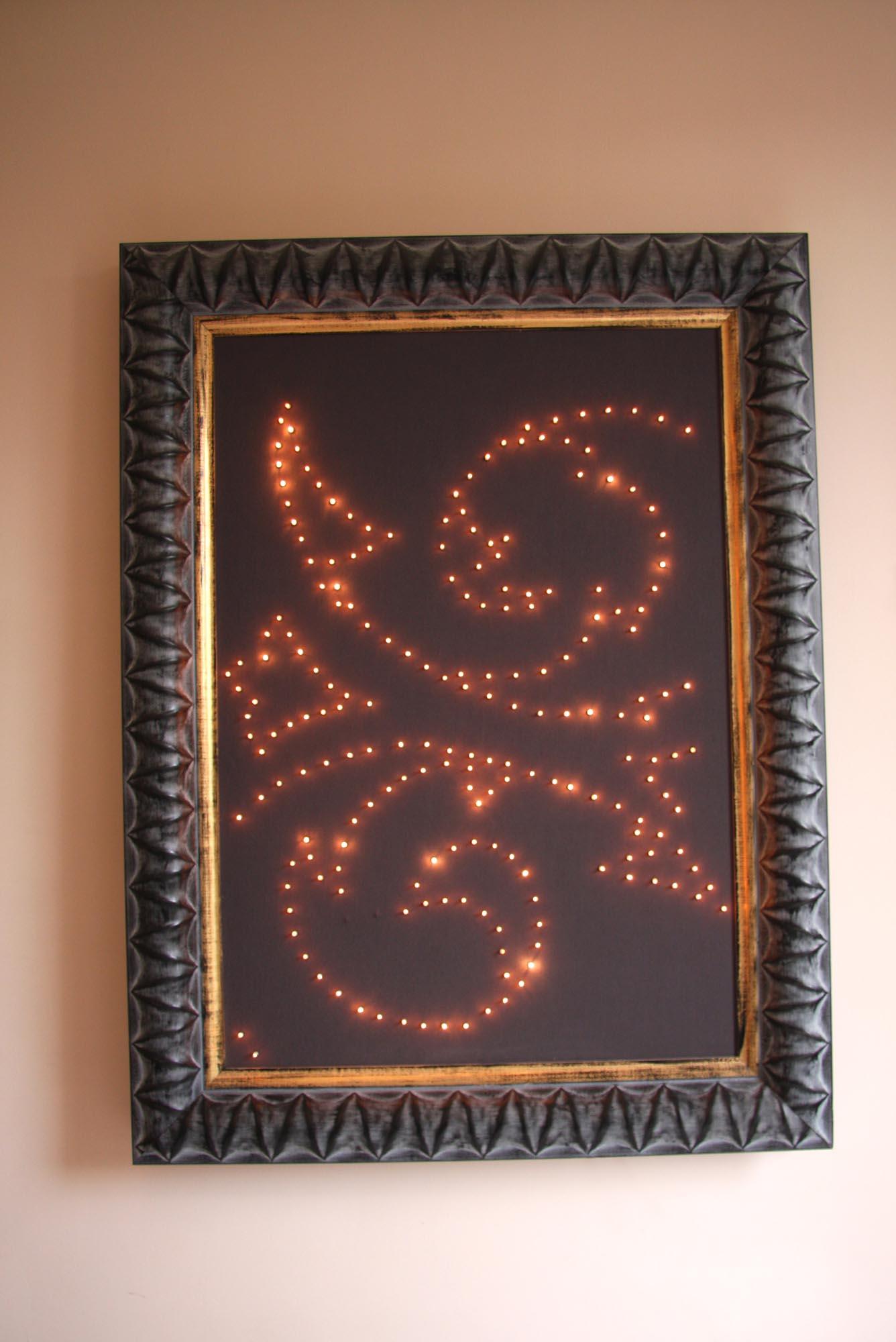 Panneau mural étoilé, LEDs blanc chaud, bois HLP 103x56x8cm