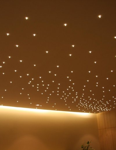 Starlit ceiling, warm white LEDs, 30m², Occitane Spa, Paris