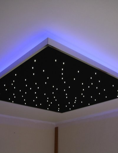 Starlit Plafonnier with backlighting, blue LEDs, 122x122cm, bedroom, Paris