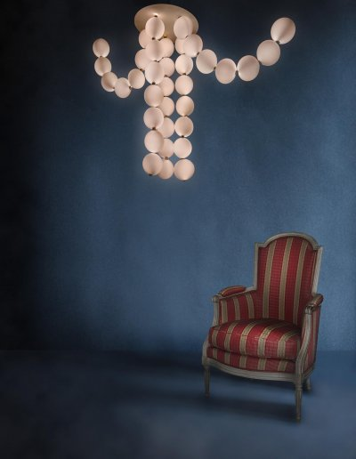 Perles chandelier with 5 flexible pendants (2 raised), H 105 x diam. 60-150cm
