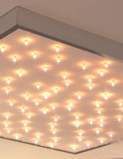 Plafonnier étoilé blanc, HLP 82x82x5cm