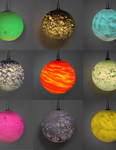 Various colored Planètes. Color is either due to the colored glass, or comes from the light source