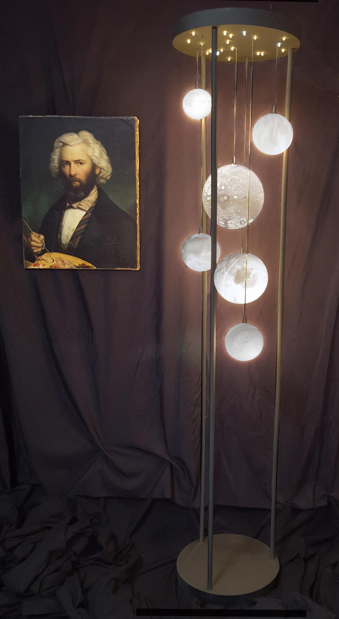 Lampadaire Cage Planètes, H 220 x diam. 50cm