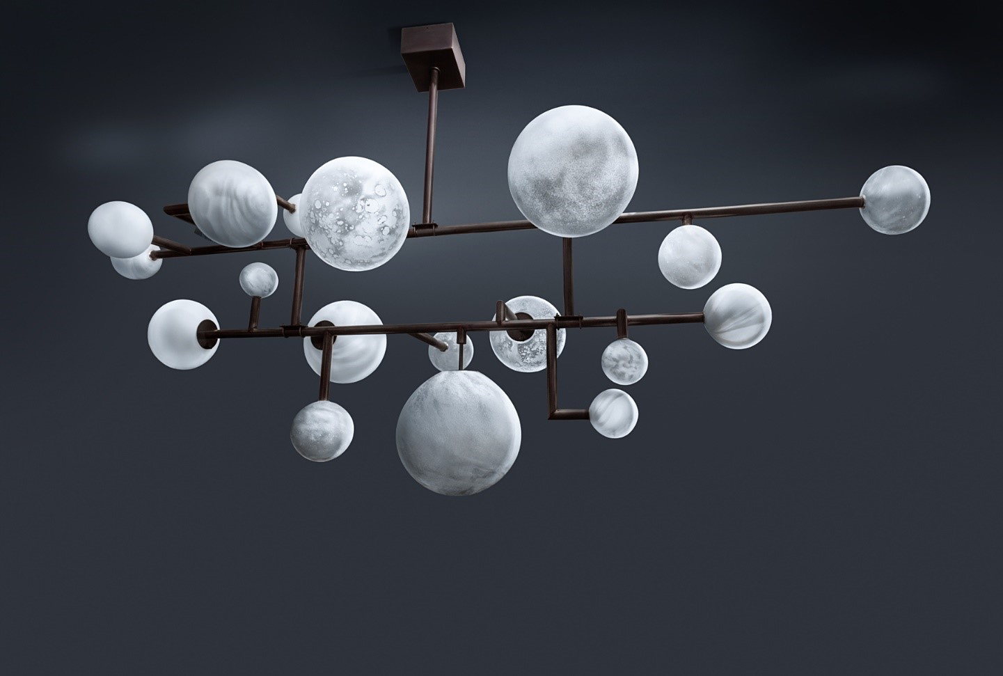 Equilibre chandelier, State of Craft London 230xH112x82cm