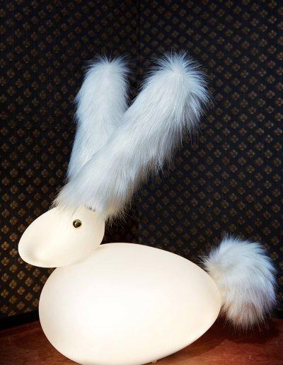 Rabbit, blown glass, brass, LEDs, 45 20 H50cm