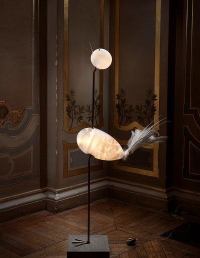 Crane, blown glass, brass, feathers, LEDs, H135 25 55cm