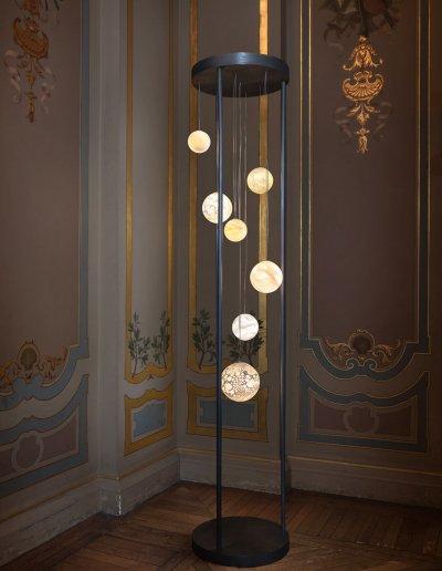 Planet floor lamp, blown glass, steel, LEDs, H220 diam 50cm